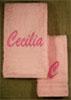 Asciugamani ricamati con nome e iniziale