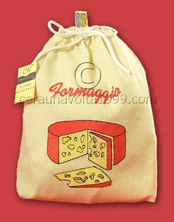 Sacchetto porta formaggio ricamato.