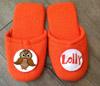 Pantofole in spugna ricamate con disegno gufo e nome.