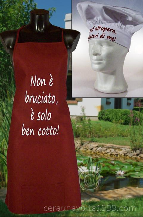 Grembiule da cucina cappello da cuoco idee regalo originali - Grembiule cucina personalizzato ...